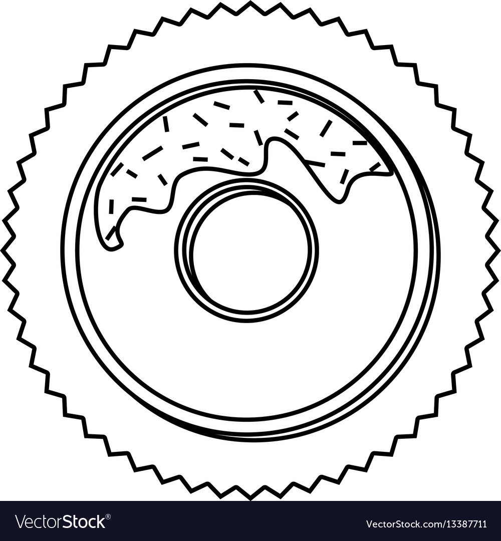 Silhouette Stamp Border With Donut Chocolate Vector Image