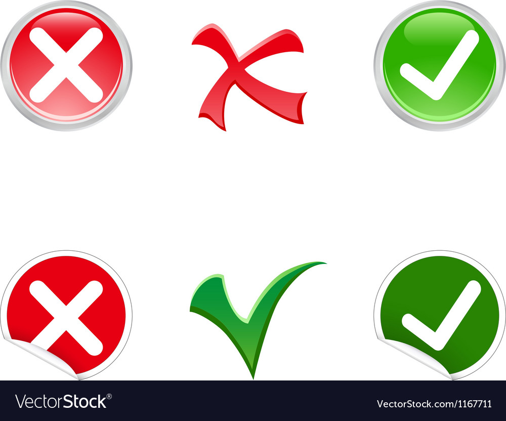 Tick And Cross Symbols Royalty Free Vector Image