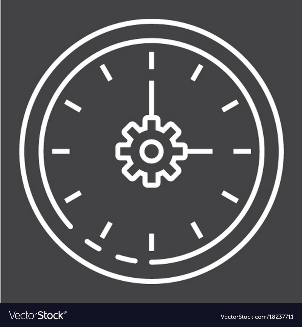 Time management line icon seo and development