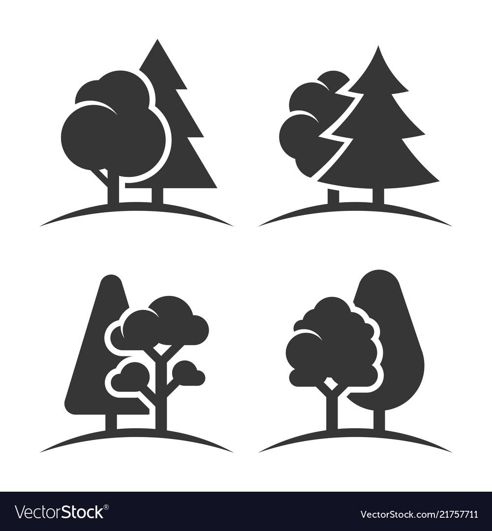 Trees group logo set on white background
