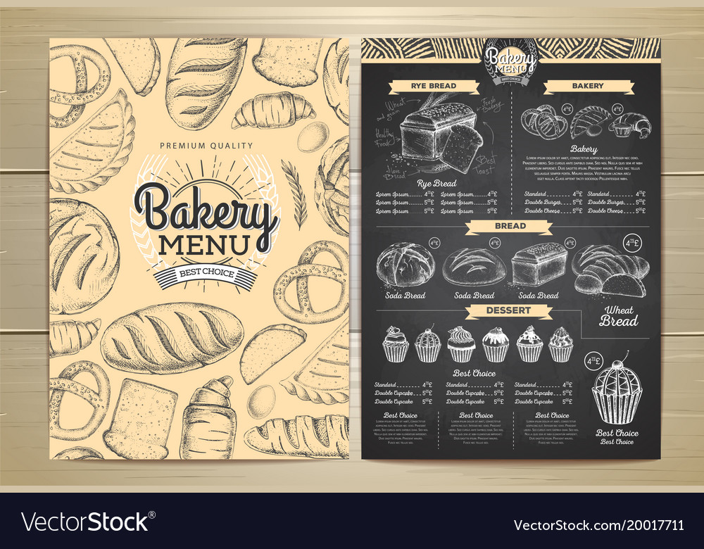 Vintage chalk drawing bakery menu design