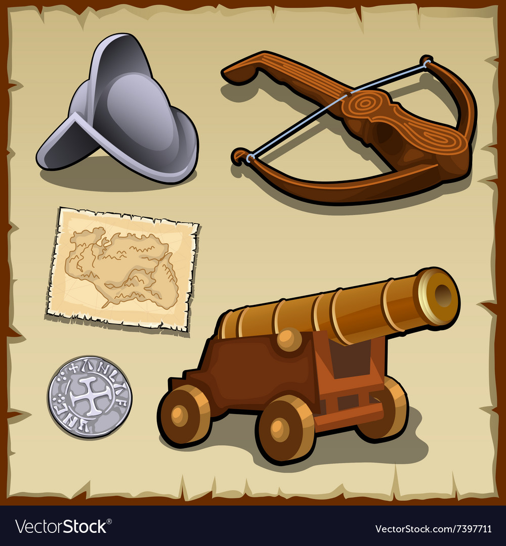 Vintage set of weapons and strategic items