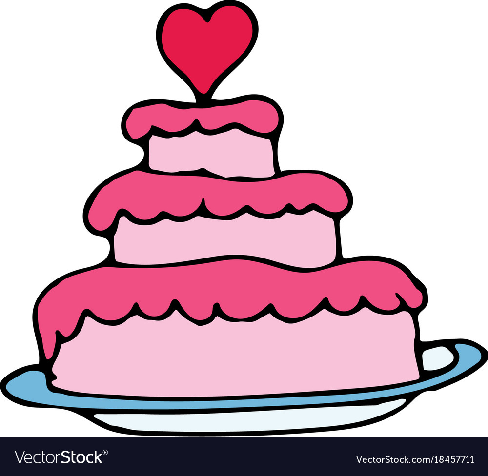 Wedding cake cartoon hand drawn icon Royalty Free Vector