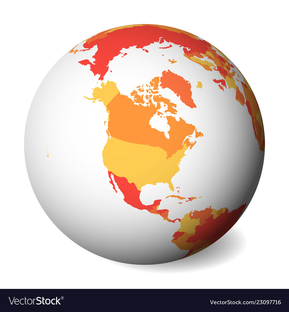 North America Blank Political Map.Blank Political Map Of North America 3d Earth Vector Image