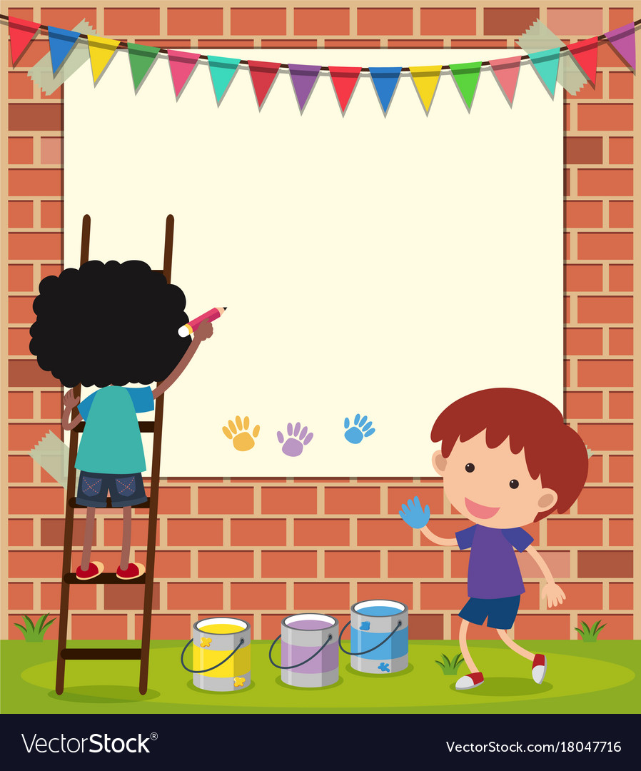 Border template with boys drawing on wall vector image