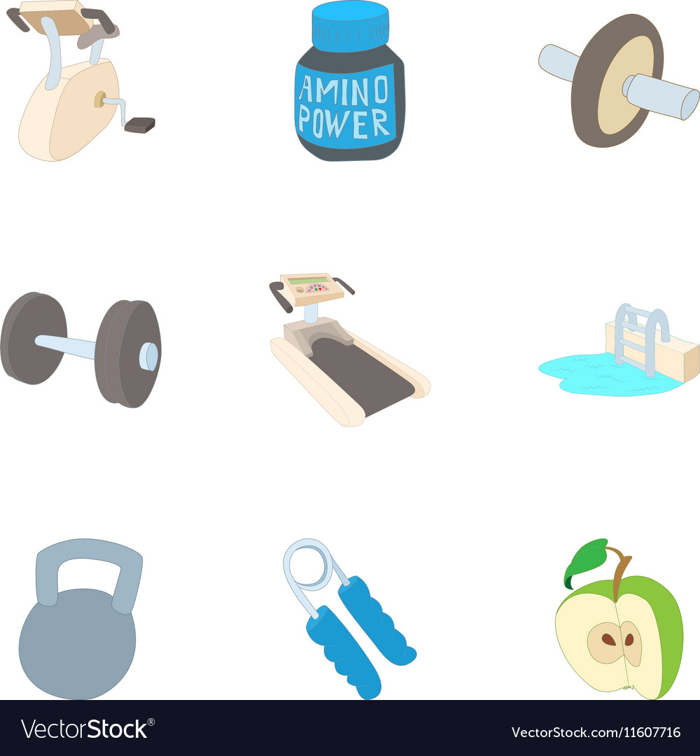 Classes in gym icons set cartoon style