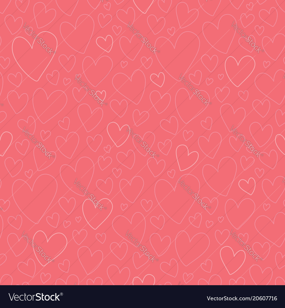 Dark pink oulined hearts seamless pattern