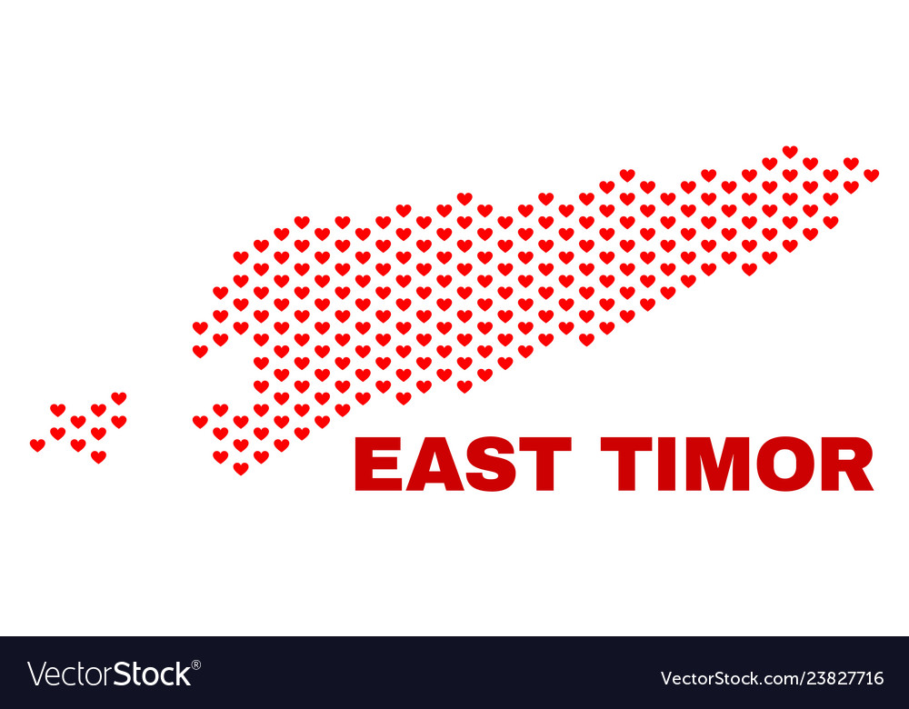 East timor map - mosaic of heart hearts