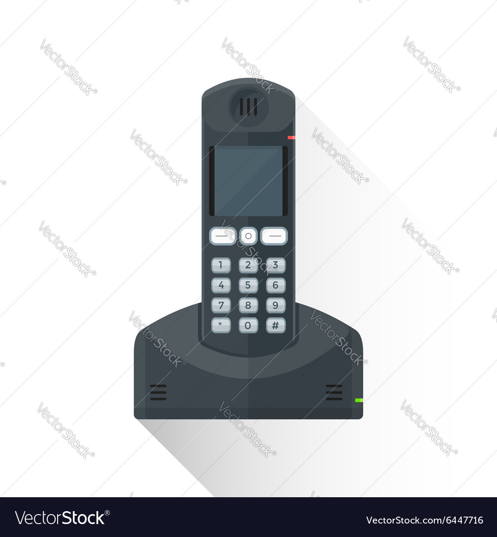 Flat style black landline wireless phone icon vector image