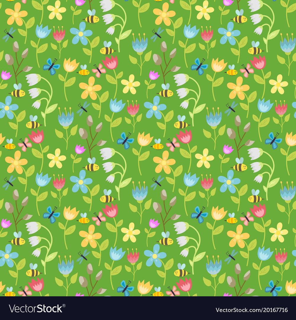 Flowers foliage butterfly seamless pattern vector image