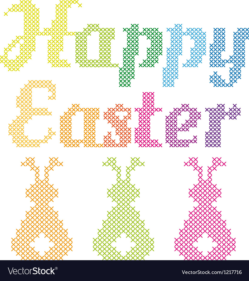 Happy easter cross stitch pattern