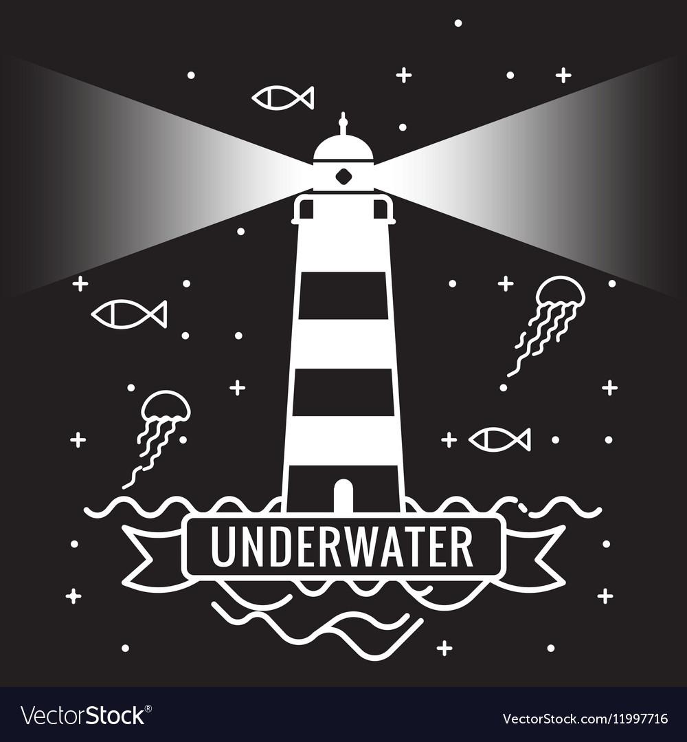 Lighthouse on black background Underwater