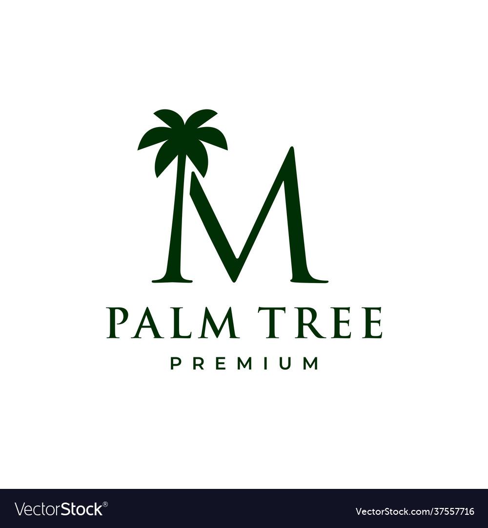 Palm tree m letter mark logo icon