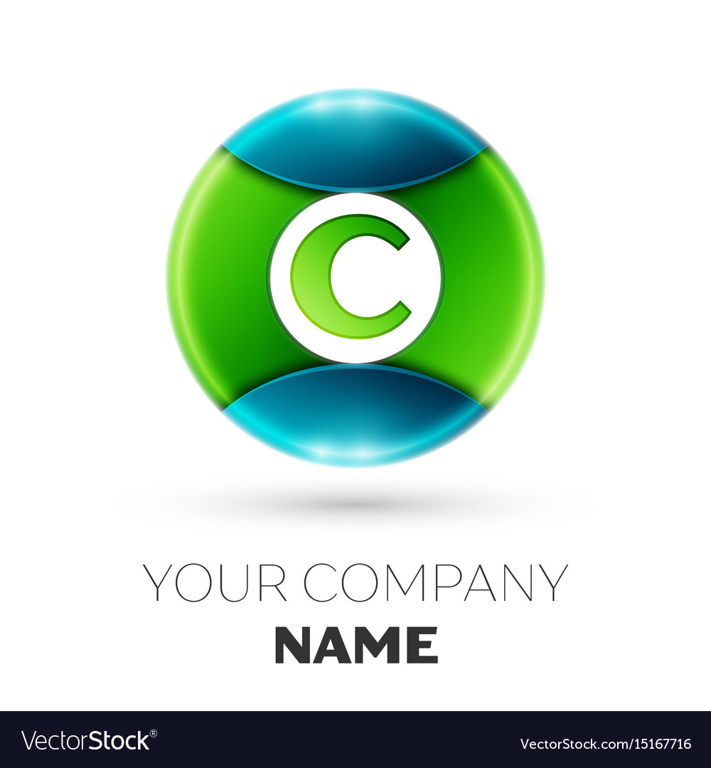 Realistic letter c logo symbol in colorful circle
