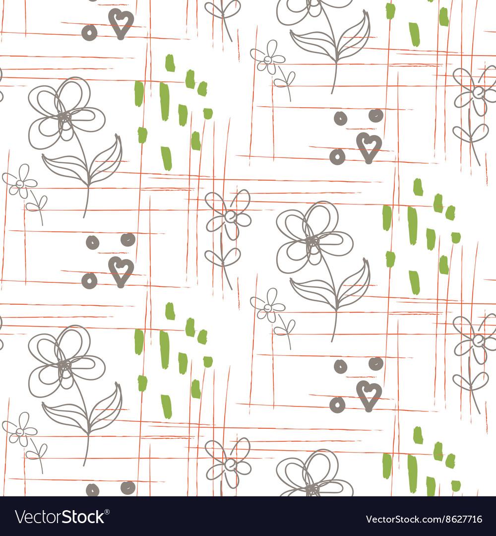 Rustic hand drawn flower seamless pattern