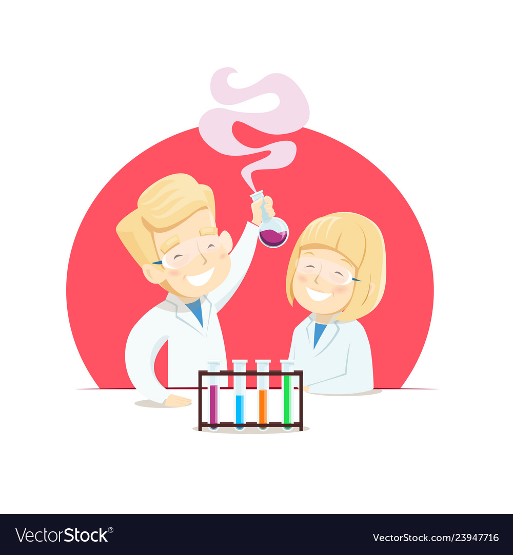 Schoolchildren do experiments in chemistry class vector