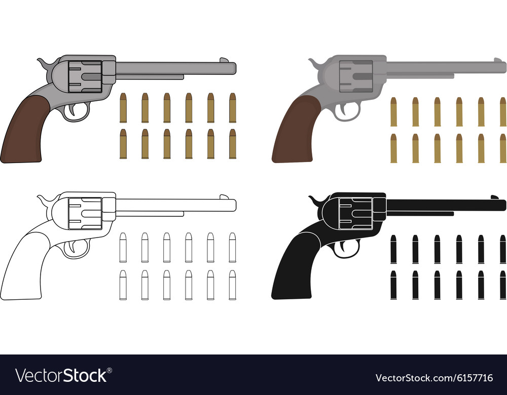 Set of six-gun revolvers with bullets Game