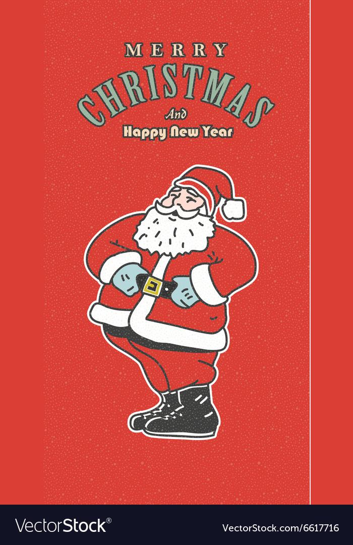 Vintage retro Christmas card Old-fashioned Santa vector image