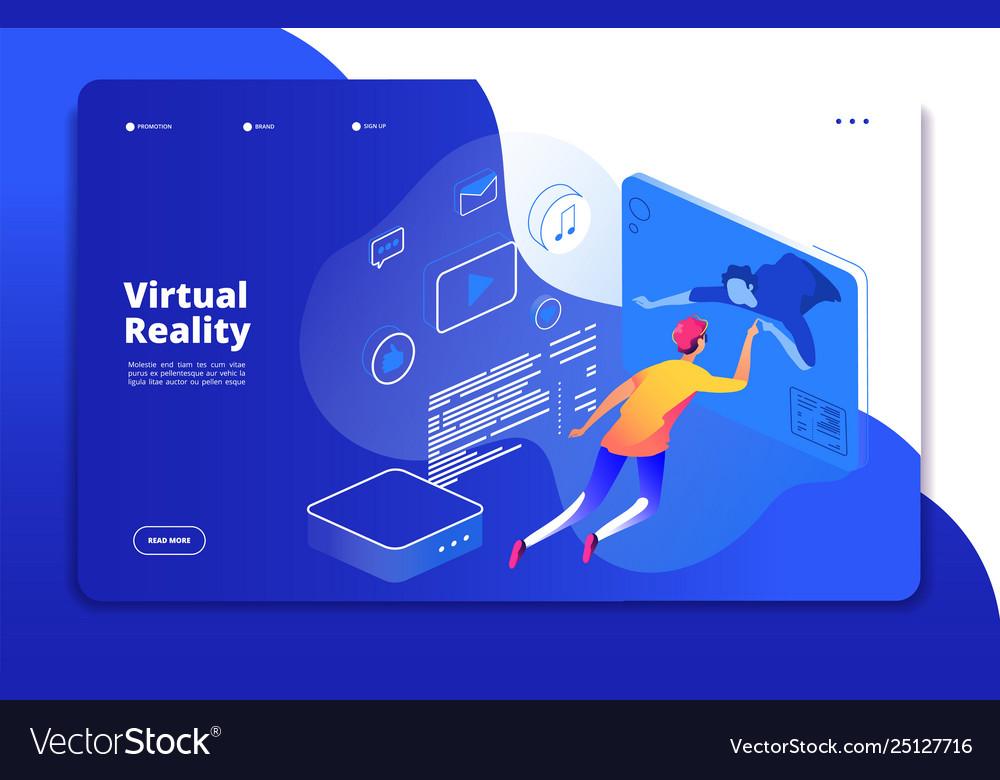 Virtual reality landing people digital mobile