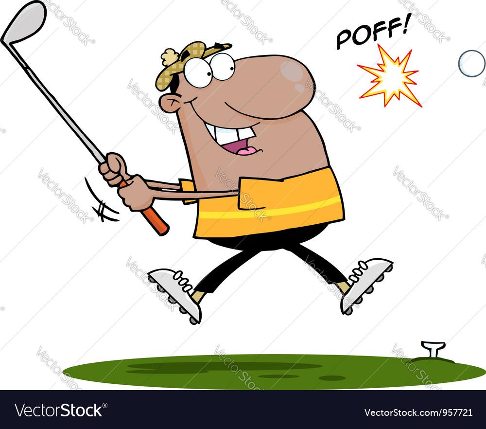 Black Man Swinging A Golf Club