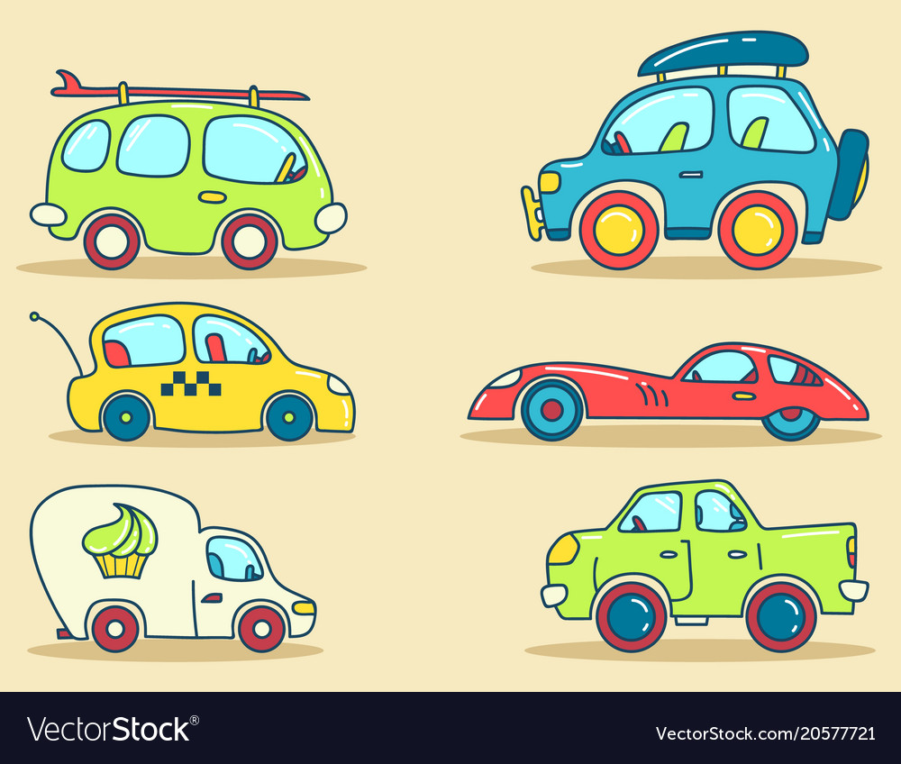 Cars images stylized for kids Royalty Free Vector Image