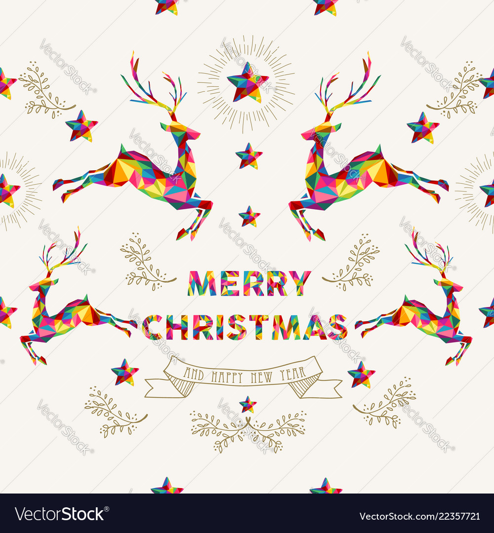 Christmas and new year low poly reindeer card