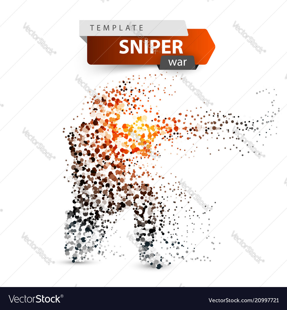 Dot sniper military shoots a rifle