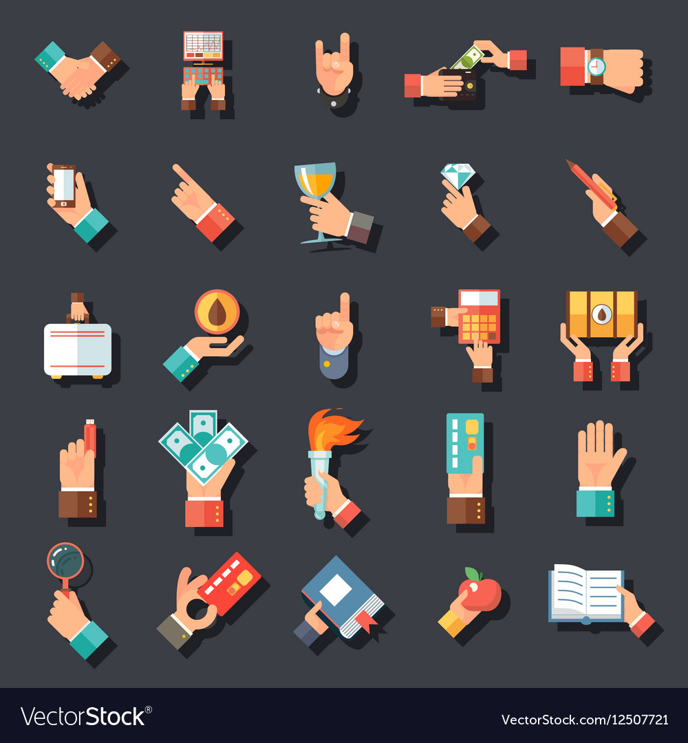 Hands Symbols Accessories Icons Set Flat Design