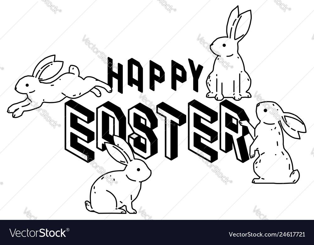 Happy easter with cute bunny rabbits line art vect