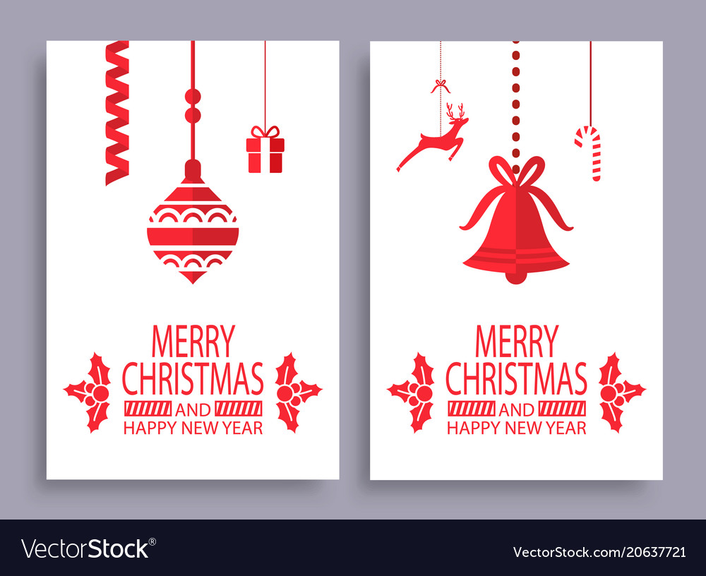 Merry christmas and happy new year set of banners