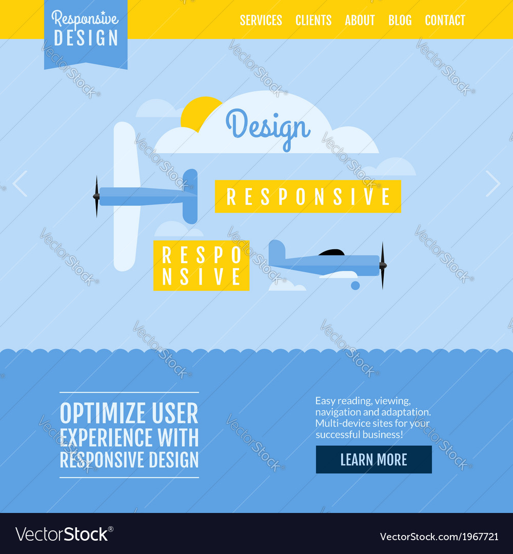 Modern flat website template with planes