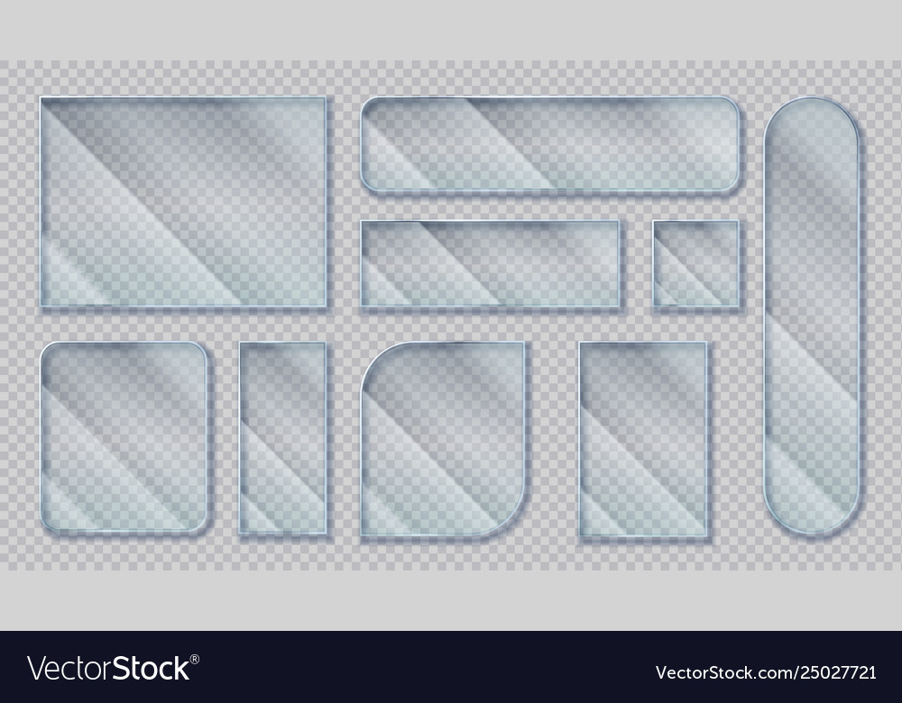 Realistic glass banners transparent window effect