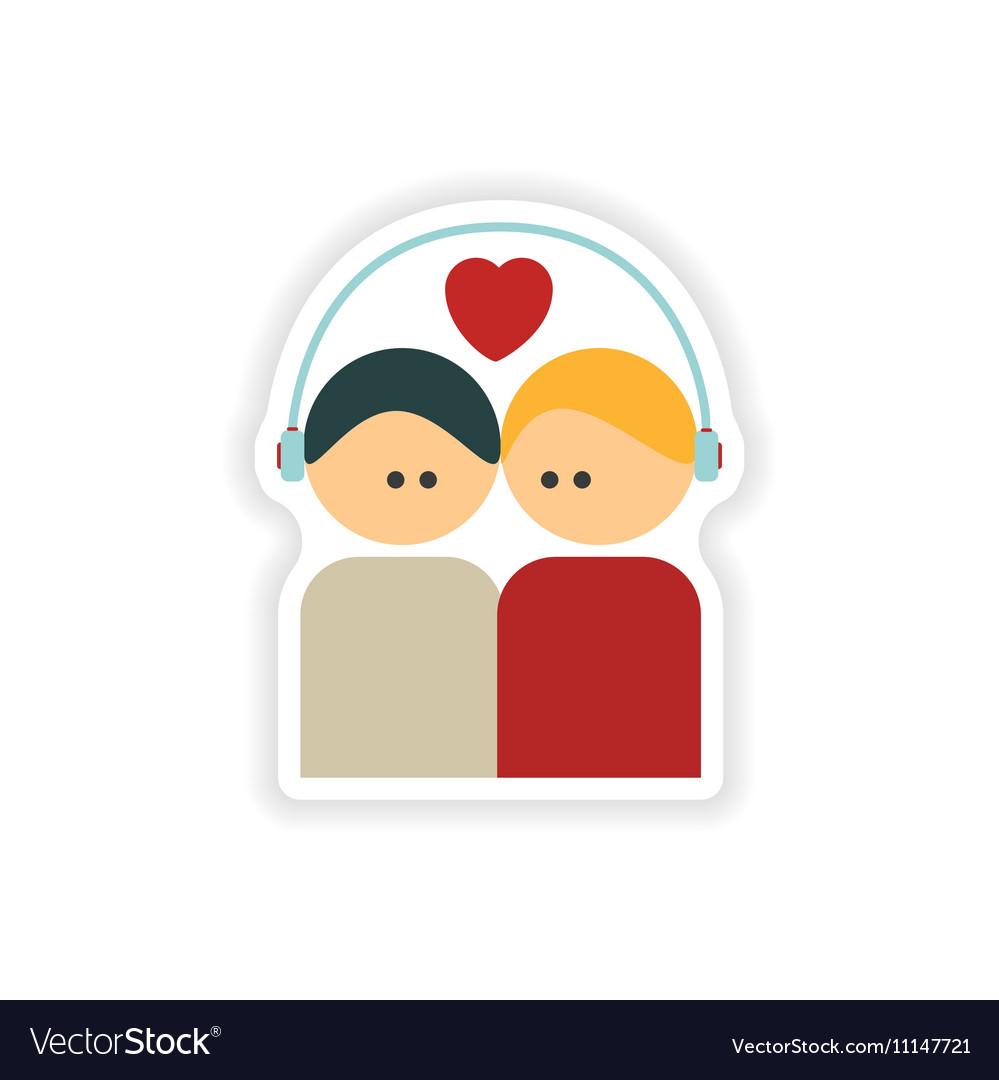 Stylish paper sticker on white background couple