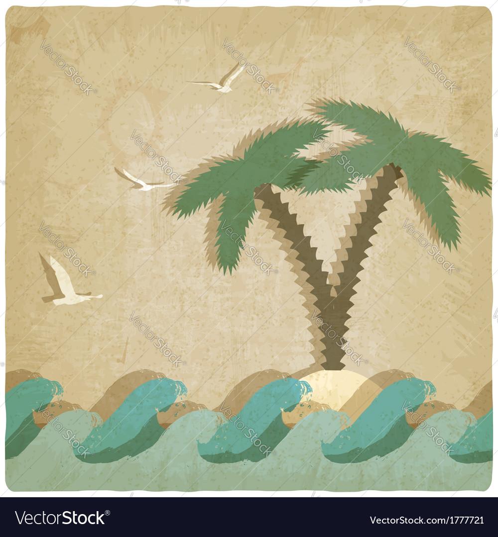 Vintage marine background with palm tree