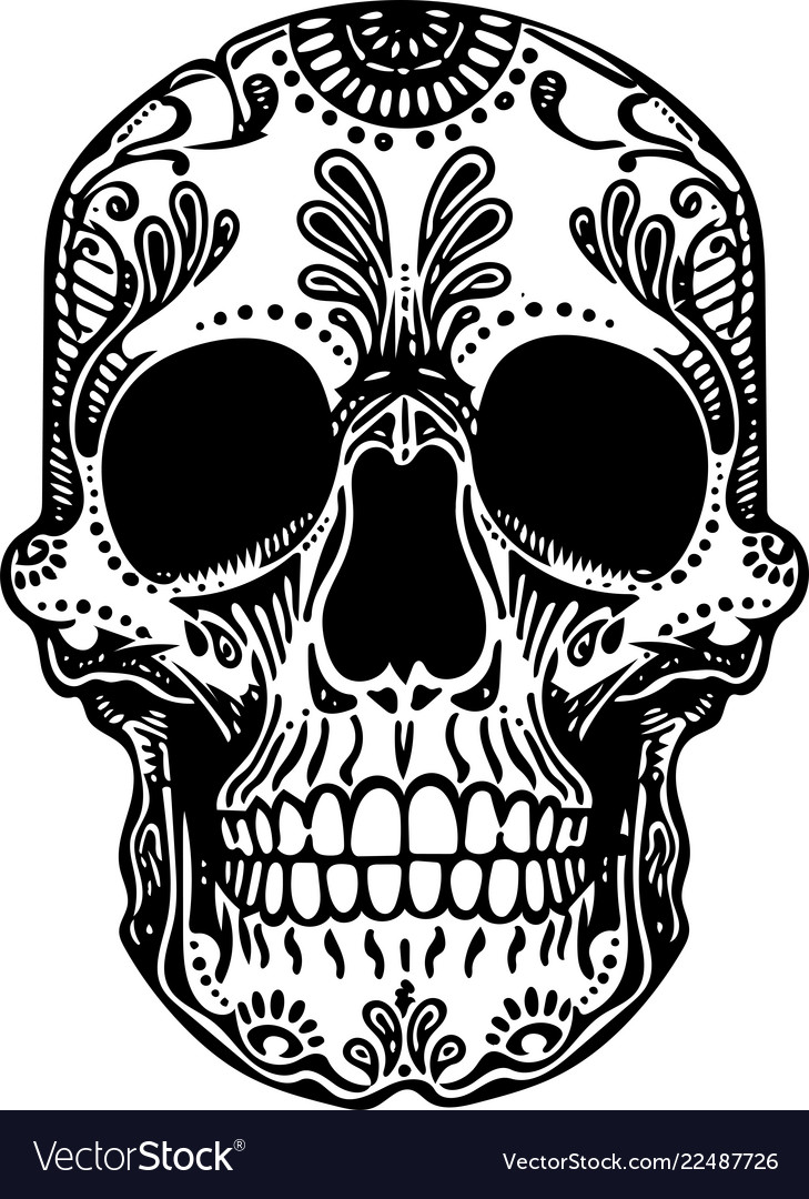 Black and white tattoo mexican skull