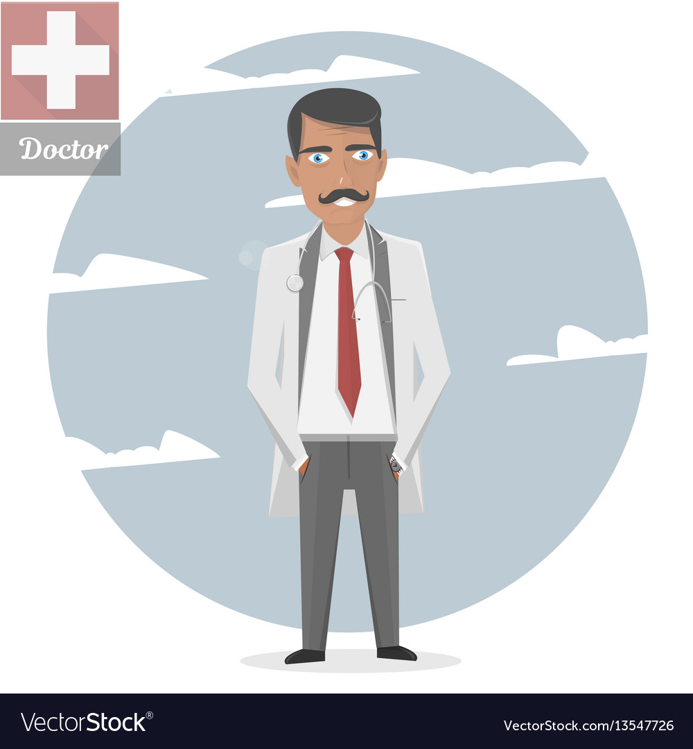 Character of the old doctor with a mustache