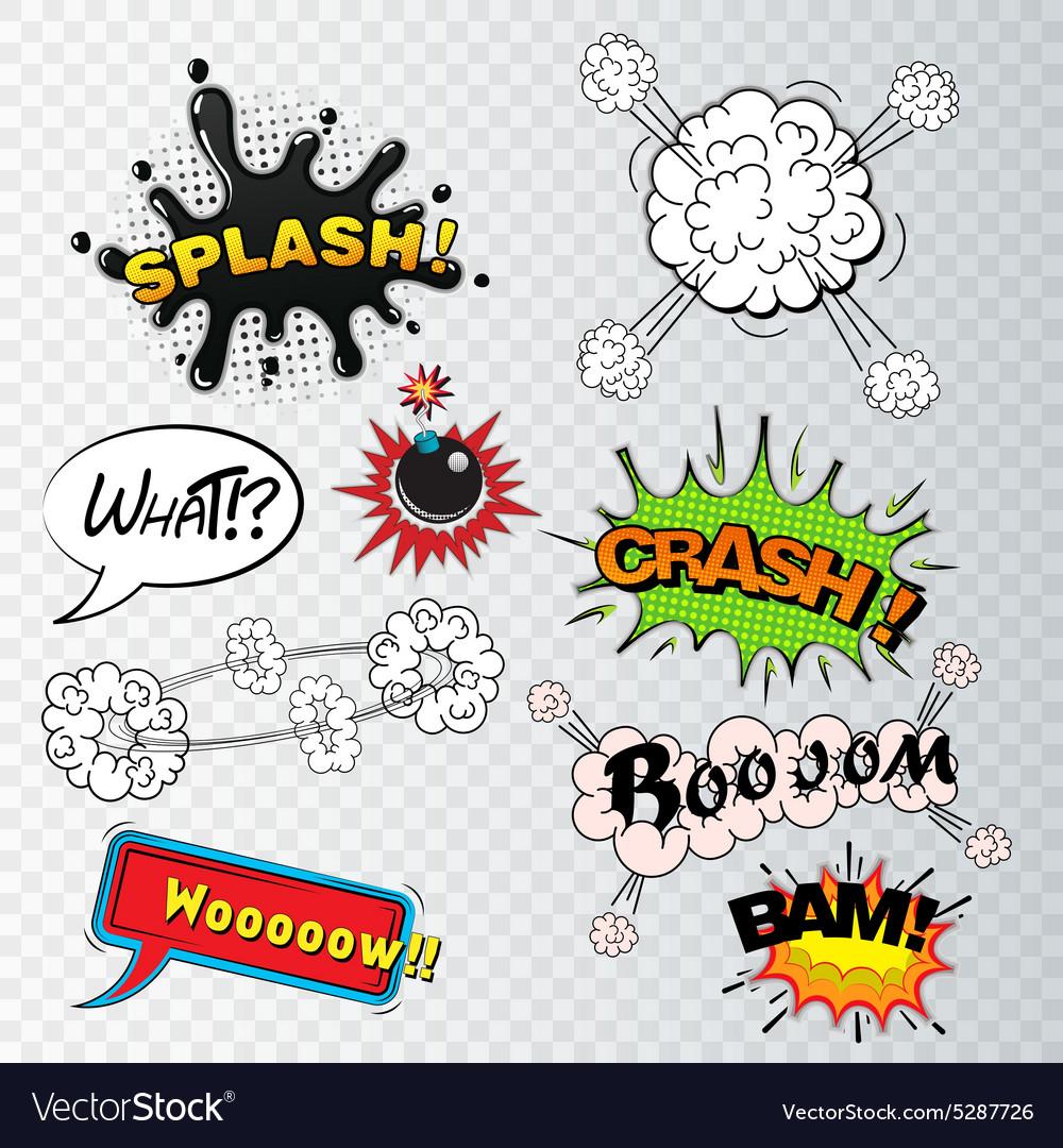 Comic speech bubbles sound effects cloud explosio