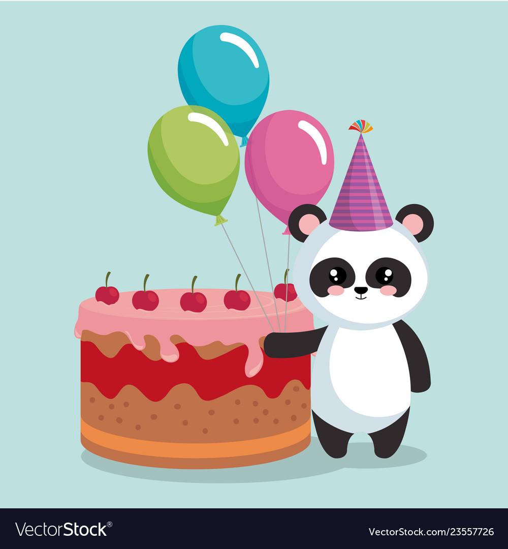 Cute Bear Panda With Delicious Cake Royalty Free Vector