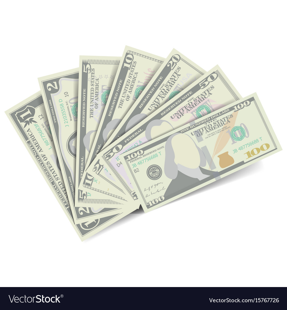 Dollars banknote stack american money bill vector image