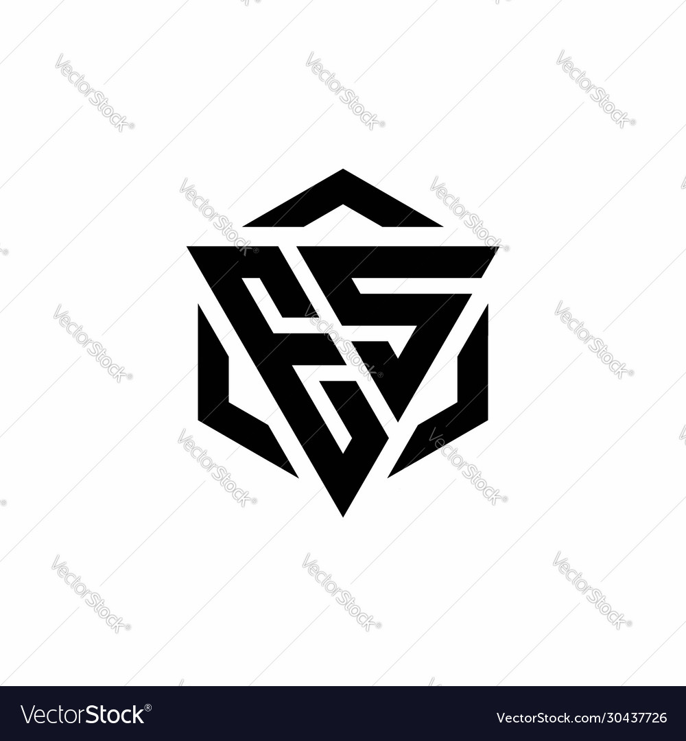 Es Logo Monogram With Triangle And Hexagon Modern Vector Image