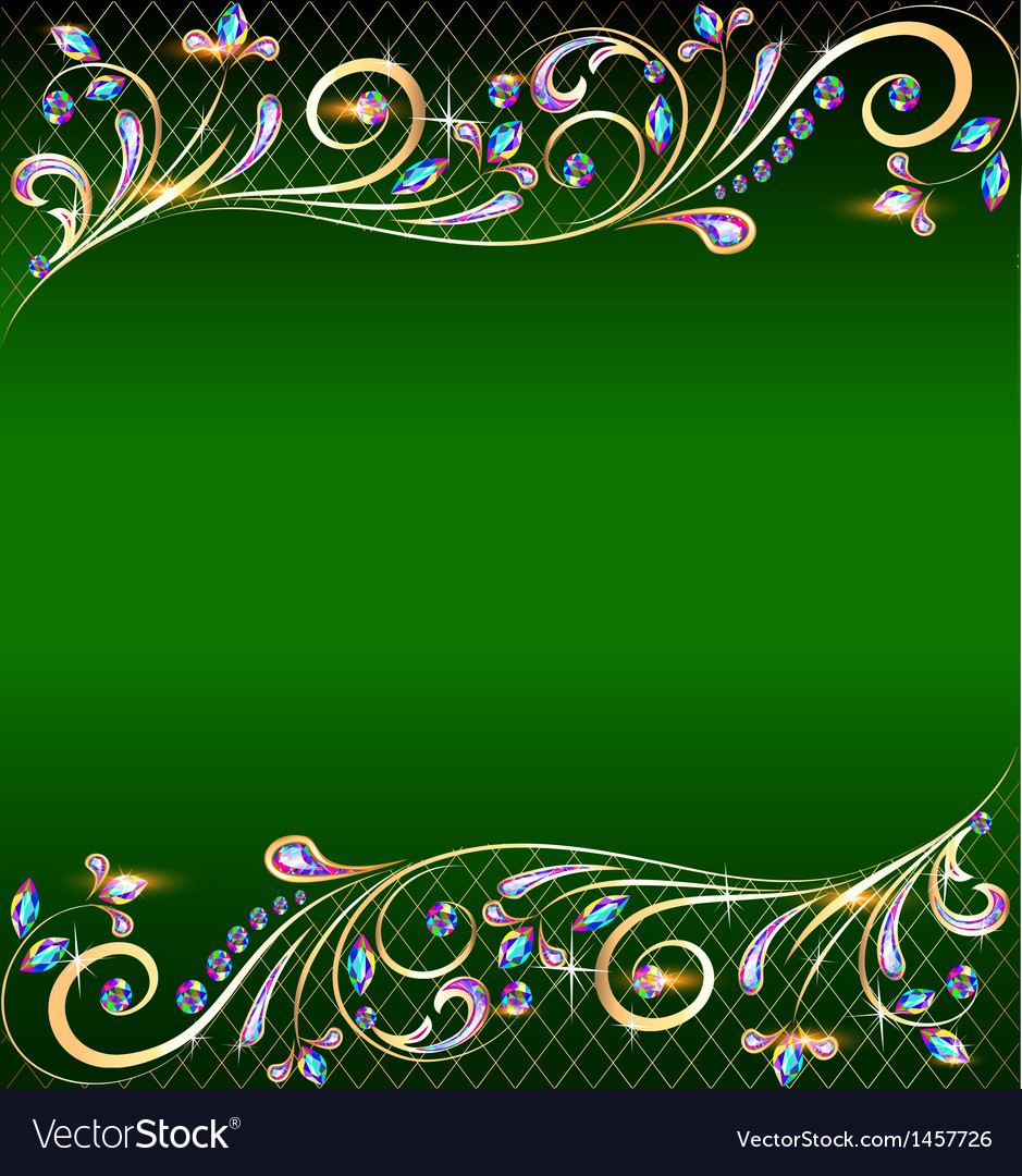 Green background with jewels