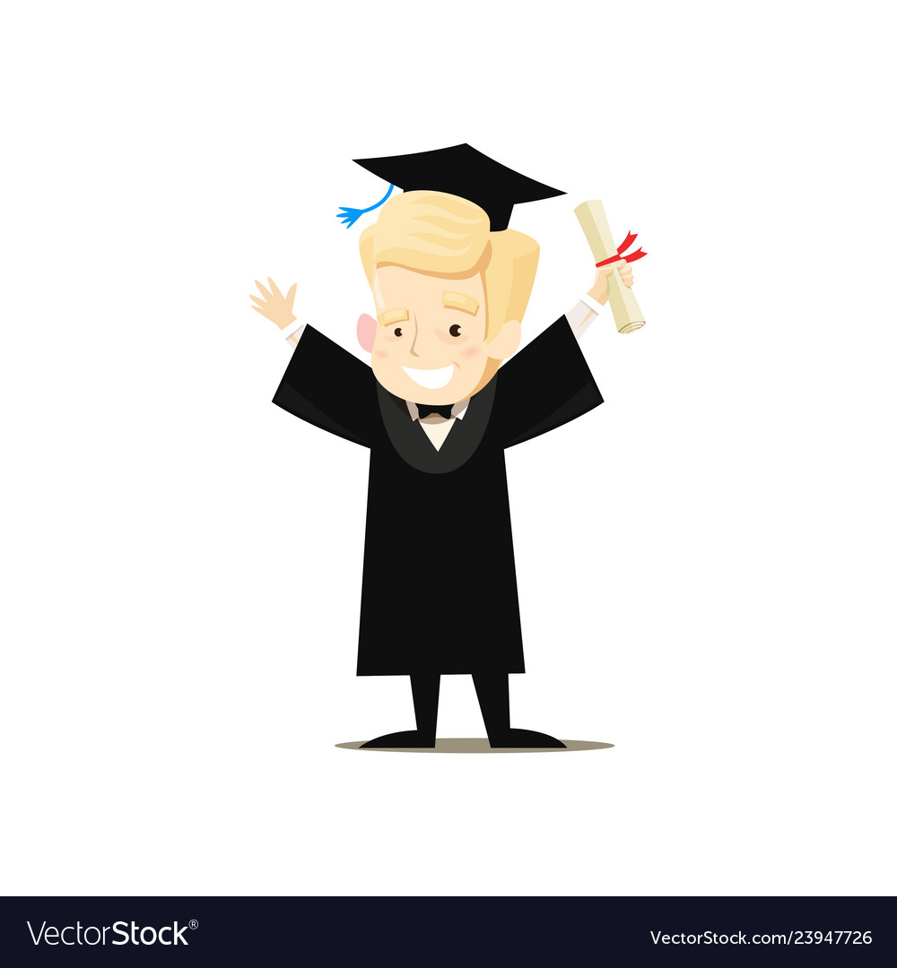Happy graduate holds diploma in his hand