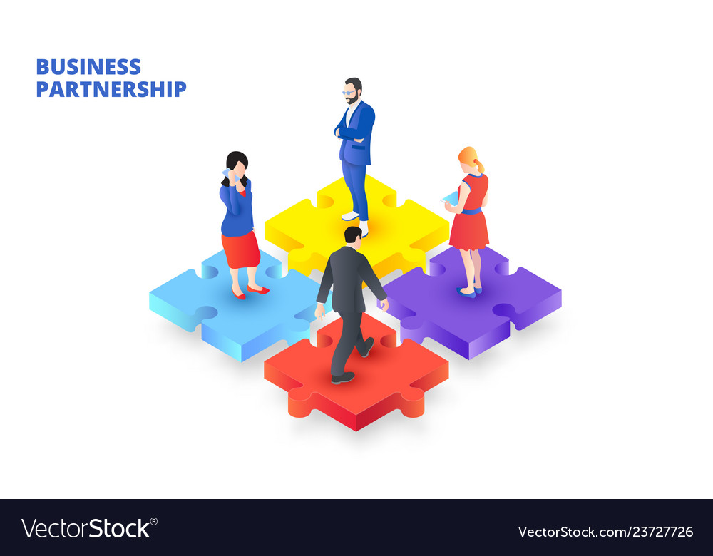 Isometric puzzle with people business