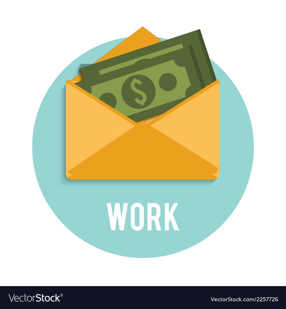 Money dollar bills in an open envelope vector image
