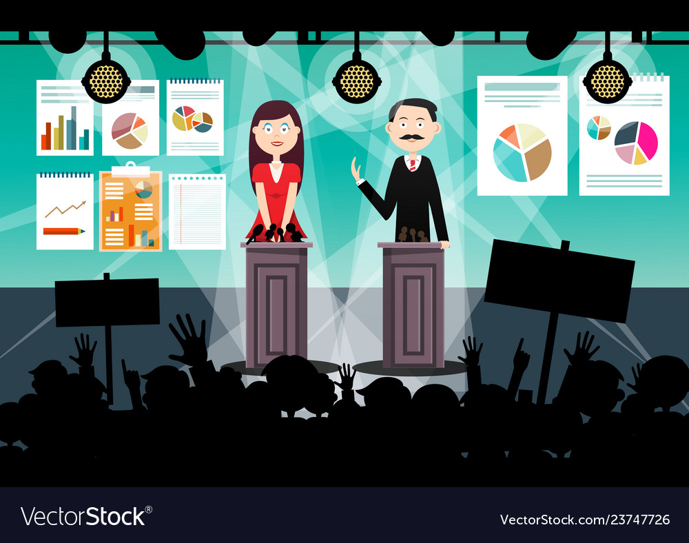 Political meeting or business conference with