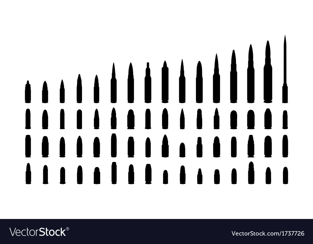 Various types ammunition silhouettes