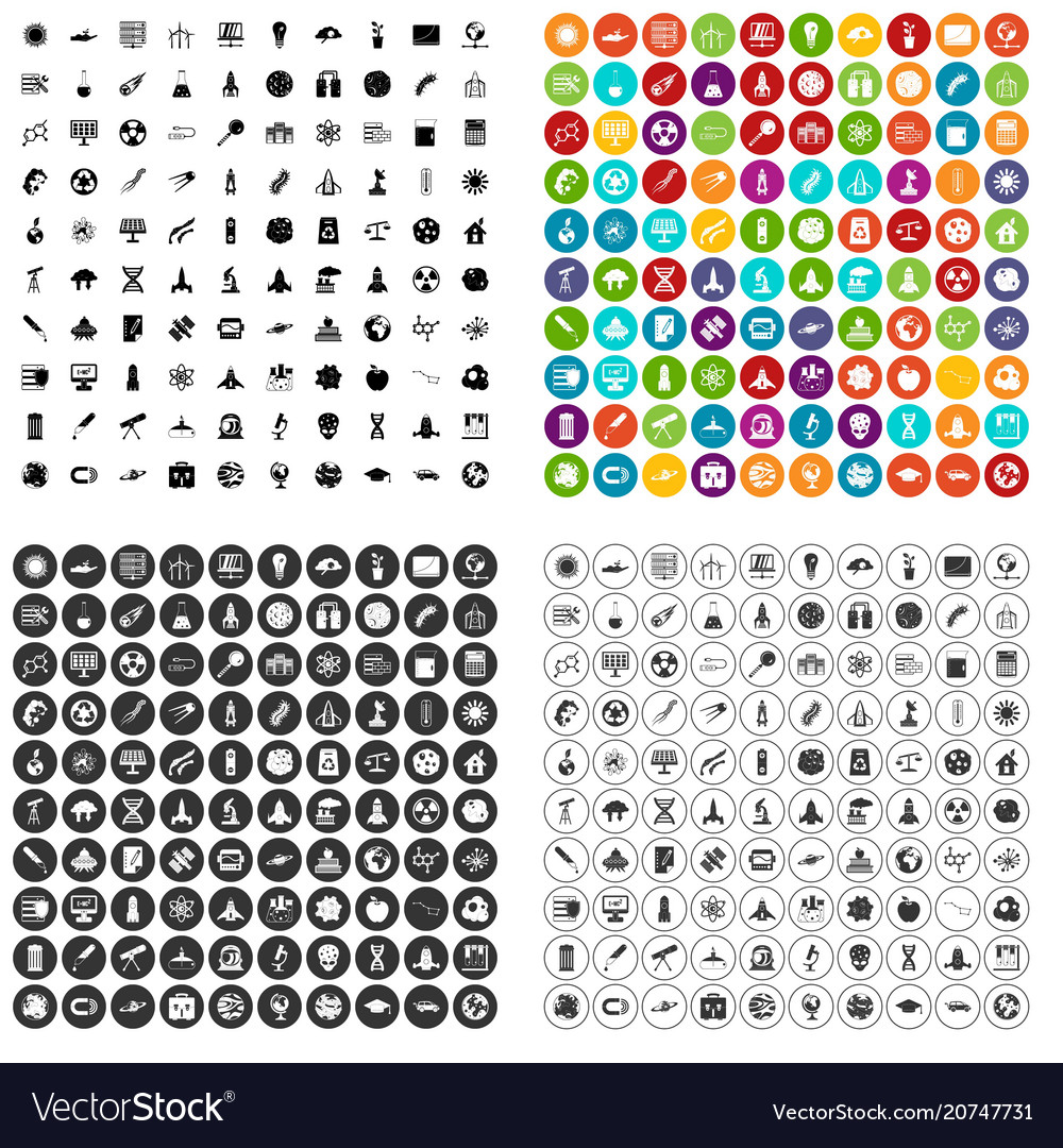 100 space icons set variant
