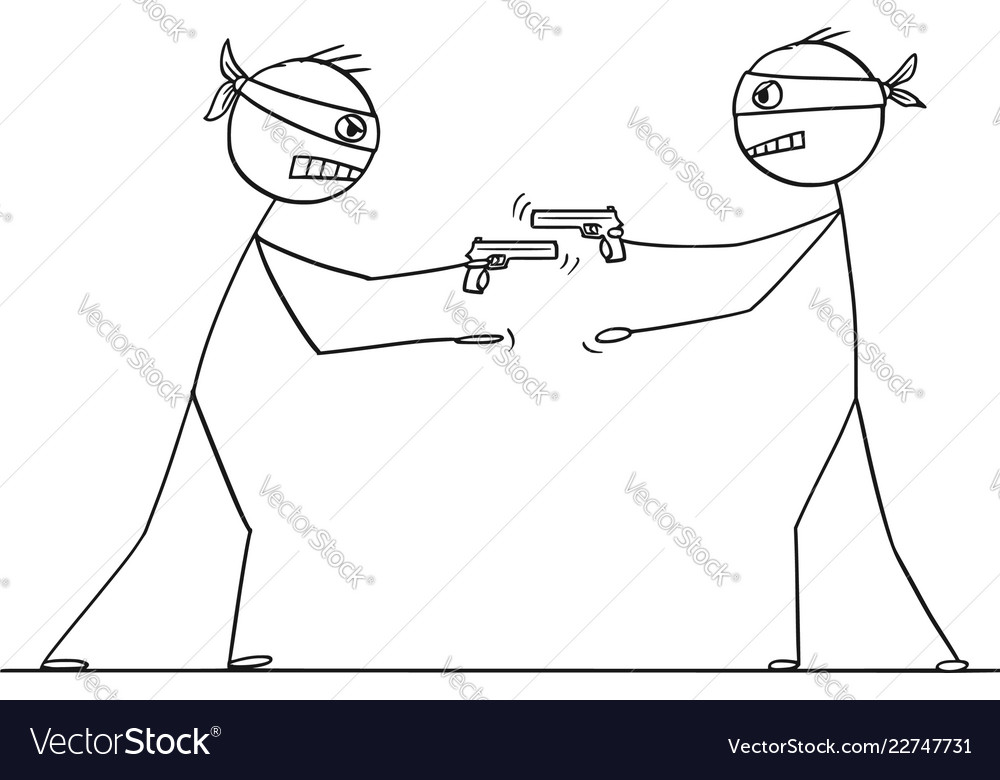Cartoon two men with gun trying to rob each