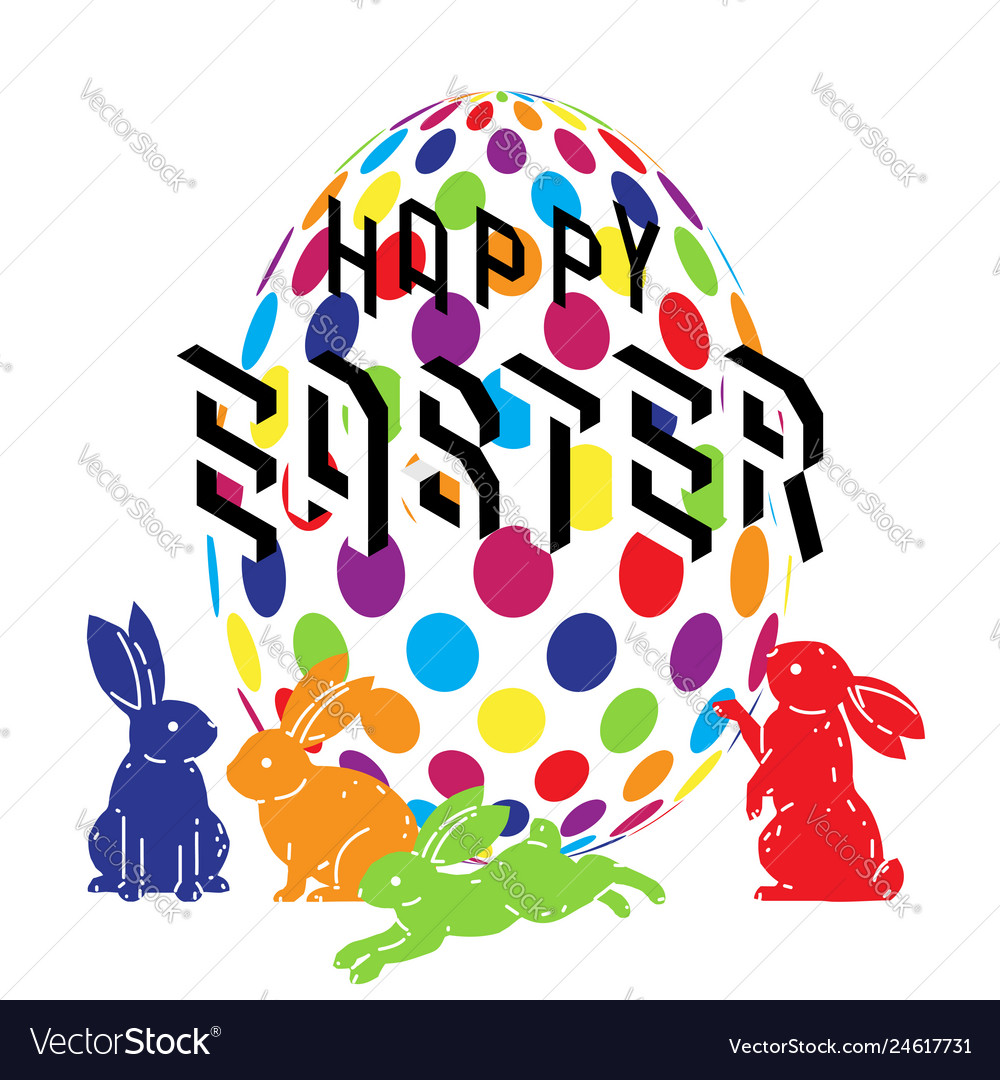 Colorful happy easter with cute bunny and easter