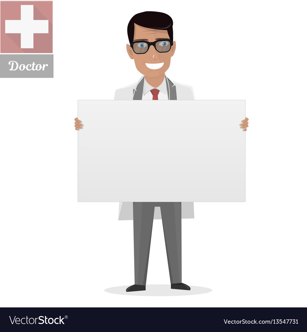 Doctor on presentation white board for